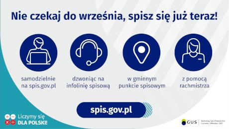 Na grafice jest napis: Nie czekaj do września, spisz się już teraz! Samodzielnie na spis.gov.pl, dzwoniąc na infolinię spisową, w gminnym punkcie spisowym, z pomocą rachmistrza. Na dole grafiki są cztery małe koła ze znakami dodawania, odejmowania, mnożenia i dzielenia, obok nich napis: Liczymy się dla Polski! Po środku jest adres strony internetowej: spis.gov.pl. W prawym dolnym rogu jest logotyp spisu: dwa nachodzące na siebie pionowo koła, GUS, pionowa kreska, Narodowy Spis Powszechny Ludności i Mieszkań 2021.